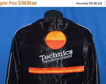 ON SALE 80s Technics Science Of Sound Disc Jockey Satin Jacket Medium