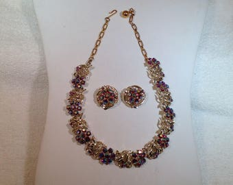 Red Ab Necklace and Earrings
