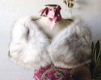 Vintage fox fur stole real fur wrap glam party collar wedding bridal scarf cape shrug shabby display