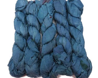 New! Recycled Sari Silk Ribbon, 100g skeins , Steel Blue