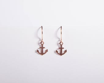 Earrings Anchor Rosegolden Earrings Dangly Earrings  Anchor