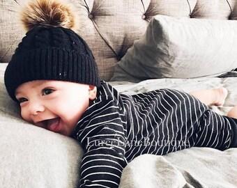 Baby wool beanie/Baby pom beanie/Baby beanie/Toddler beanie/Baby winter hat/Baby hat/Knitted baby beanie/Knit baby hat/Newborn baby beanie