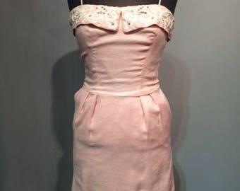 Light Pink Linen 50s Dress with Rhinestones.