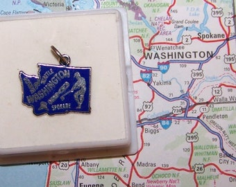 Vintage Beau  WASHINGTON STATE  Sterling and Enamel State Charm --Seattle, Olympia and Spokane