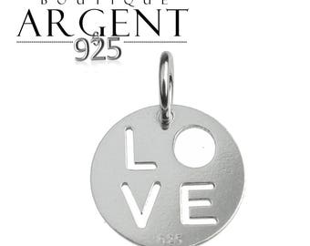925 Silver Pendant with 15 X 11.3 mm barrel with the word charm love