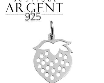 Strawberry shaped 17.5 X 12.4 mm 925 sterling silver charm