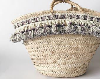 Macrame tassels Straw Market Basket/beach bag