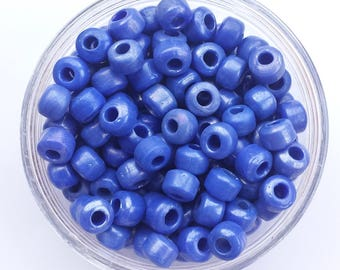 50 Silvery Blue, Iredescent Crow Beads size 9x6mm with 3mm hole