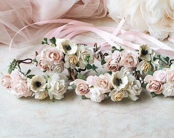 Pale Pink Ivory Rose Wrist Corsage Floral Bridesmaids Wedding Bracelet Bridal Flower