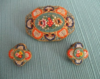 Italian Micro Mosaic Brooch and Earrings in the Florentine or Pietra Dura Style