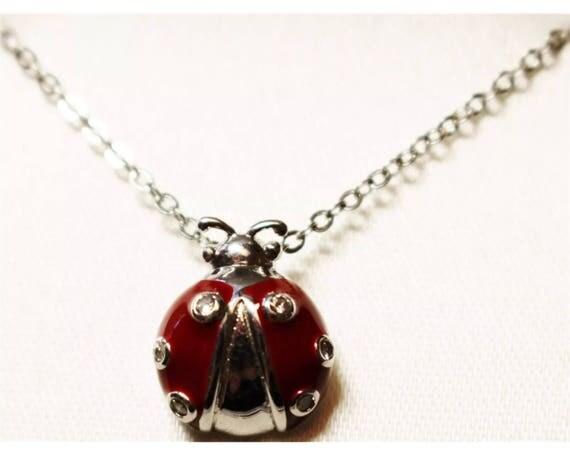 Super Cute Silvertone & Red Enamel with Crystal Rhinestones Lady Bug Pendant necklace
