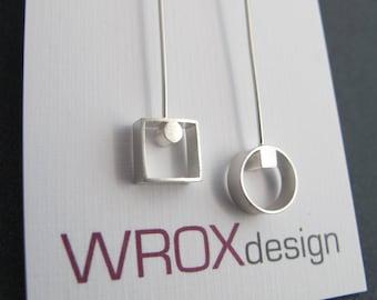 Villy Drop Earrings, Mismatch Earrings, Circle Square Earrings, Geometric Earrings, Mismatch Jewelry, Sterling Silver, Shiny or Matte Finish