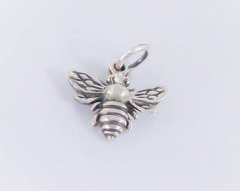 1 Sterling Silver Bumble Bee Charm