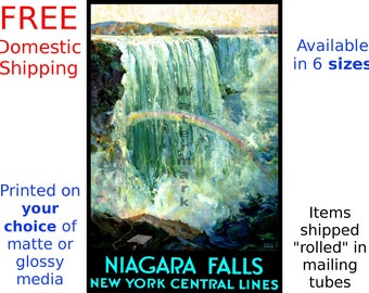 Travel by Train - Niagra Falls - Vintage Railroad Travel Poster (517618090)