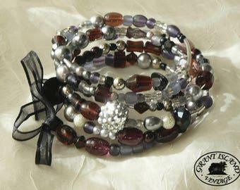 Purple Silver Gray Wrap Bracelet