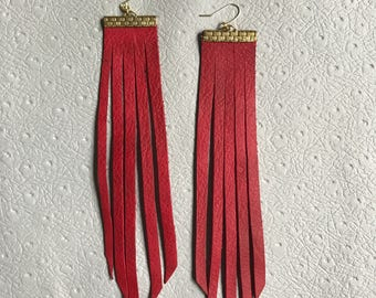red leather fringe earrings <LONG>