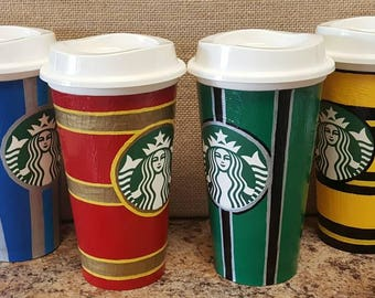 Hogwarts House themed coffee mugs - Harry potter inspired Travel cups - Gryffindor Slytherin Ravenclaw and Hufflepuff