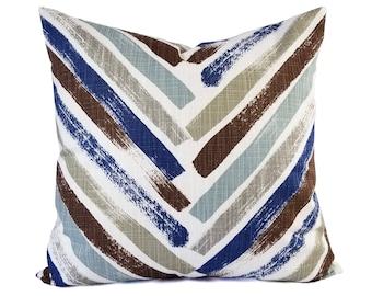 Two Blue Pillow Covers - Geometric Pillow Sham - Blue Throw Pillow - Blue Decorative Pillow - Brown Pillow Cover - Blue and Brown Pillows