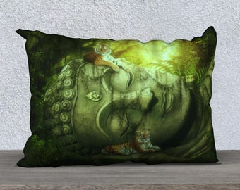 tigers and Buddha fantasy pillow case 20x14 inches