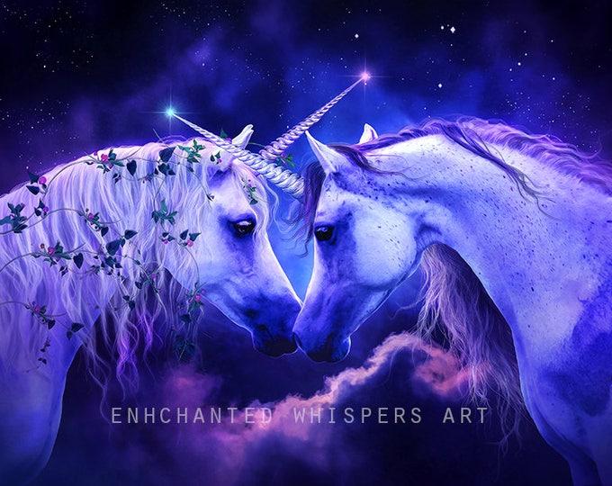 purple and pink fantasy Unicorn portrait  art print