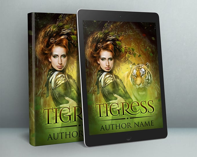 premade fantasy tiger and woman fiction character cover design