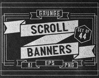 Set of 44 Retro grunge scroll banners -  Ribbon banners clipart - Vector & PNG - Digital graphics - digital download