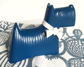 Stig Lindberg Scottish dog Simon retro money bank. Sweden vintage Doggy bank. Collectible Modernist. 60s Mid Century Modern design blue