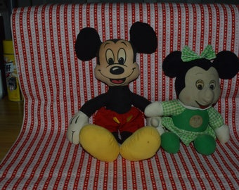 Mickey and Minnie Mouse cloth dolls