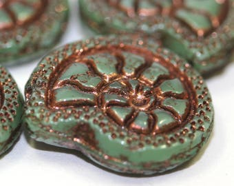 4 pcs Czech Bead Snail - Green with Old Patina - 3752
