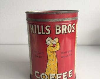 Vintage 1930's Hills Brothers Coffee Can / Canister