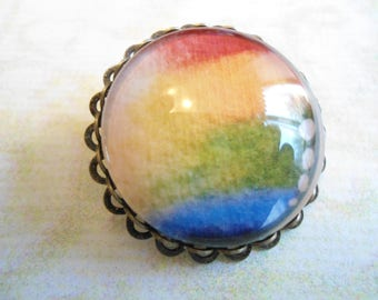 Rainbow fade-out glass pin brooch with antique brass complex (locking pin) safety pin back