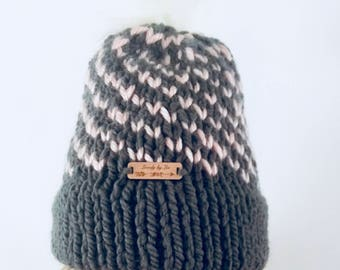 Charcoal Gray and Blush Pink Fair Isle Heart Spiral Hat with White Faux Fur Pompom, Gray and Pink Double Brim Toque, Pompom Hat Pink Gray