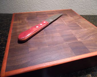 Solid Walnut and Paduak Cutting Board, Entertaining, Gift, Food Grade Sealed Board, Cutting Board, Bar Board