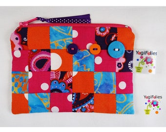 patchwork Coin purse, patchwork change purse, patchwork zipper bag, patchwork little pouch, colored coin purse, colored change purse