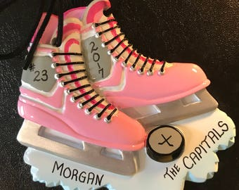 Hockey Stakes Personalized Christmas Ornaments for Kids / Hockey Player Sports Ornament Gift for Kids / Pink White Ice Skates