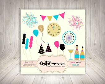 Happy New Year Clipart, New Year's Eve Clip Art Graphics, Glitter, Gold New Year Clipart, Instant Download!