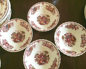 Masons English Ironstone Cereal Bowls, Set of 4, Fruit Basket Pattern, Red Multicolor Transferware Bowls, Farmhouse, Cottage Chic