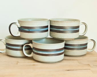 Vintage Otagiri Horizon Replacement Soup Mug Wide Teacup Coffee Cup, Blue Stripe Stoneware (5 Available)