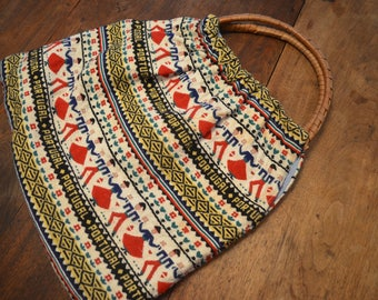 Vintage hand embroidered purse bag wooden handle Portugal folk art boho hippie