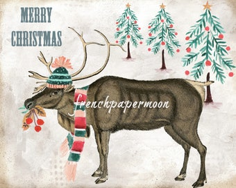Adorable Digital Decorated Vintage Moose, Christmas Reindeer, Hat, Scarf, Christmas Pillow, Christmas Printable