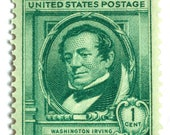 10 Unused Washington Irving Postage Stamps // 1940 Vintage Green Stamps For Letter Writing, Mailing Invitations & Cards