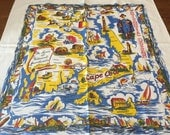 Vintage State Tablecloth, Shores of Historical Massachusetts Map, 1950's Printed Cotton Tourists, Boston Cape Cod Nantucket