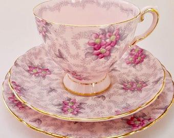 Vintage Tuscan fine bone china pretty pastel pink teacup trio - pattern # 510H