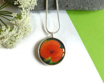 Red Poppy Necklace, Photo Jewelry, Red Jewelry For Her, Summer Jewelry, Boho Jewelry, Colorful Necklace, Nature Lovers Gifts, Jewelry Gift