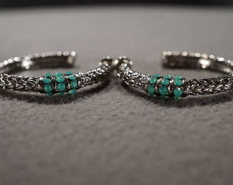 Vintage Silver Tone Pierced Hoop Style Earrings  Fancy Etched Woven Design Multi Round Fancy Faceted Faux Blue Turquoise Stone Beads   #1470