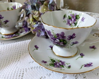 Spring Violets Floral Teacups Rossetti - Teacups and Saucers - Fine China