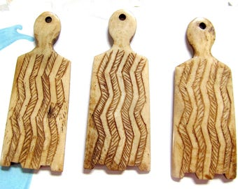 Primitive Bone Pendants, Carved Bone Petroglyph Pendants, Tea Stained Bone Rock Art, Rectangle Bone Pendant, Cave Drawing Symbol, 06273