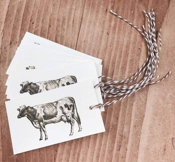 farm cow gift/favor tags 8 count
