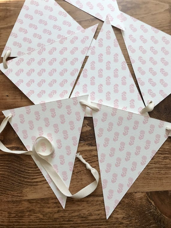 pink floral print bunting