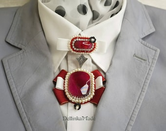 Royal cherry-red agate brooch